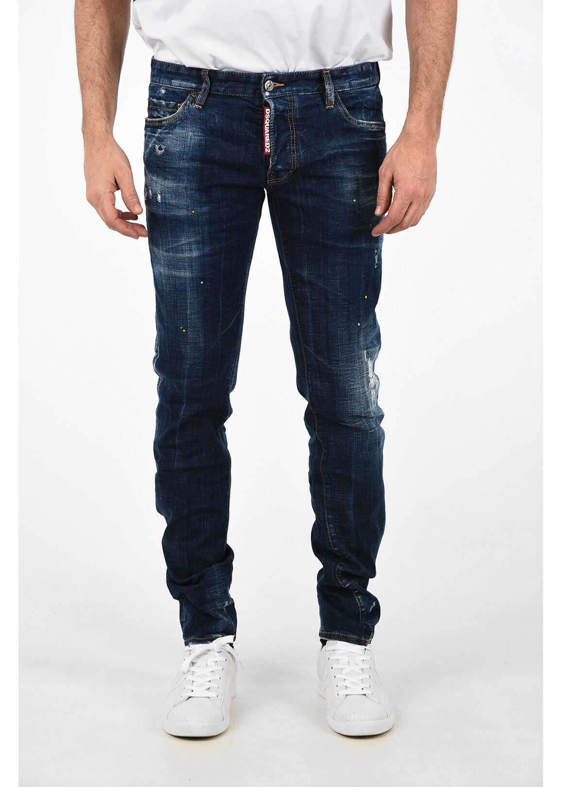 DSQUARED2 16cm Vintage Effect SLIM FIT Jeans BLUE imagine