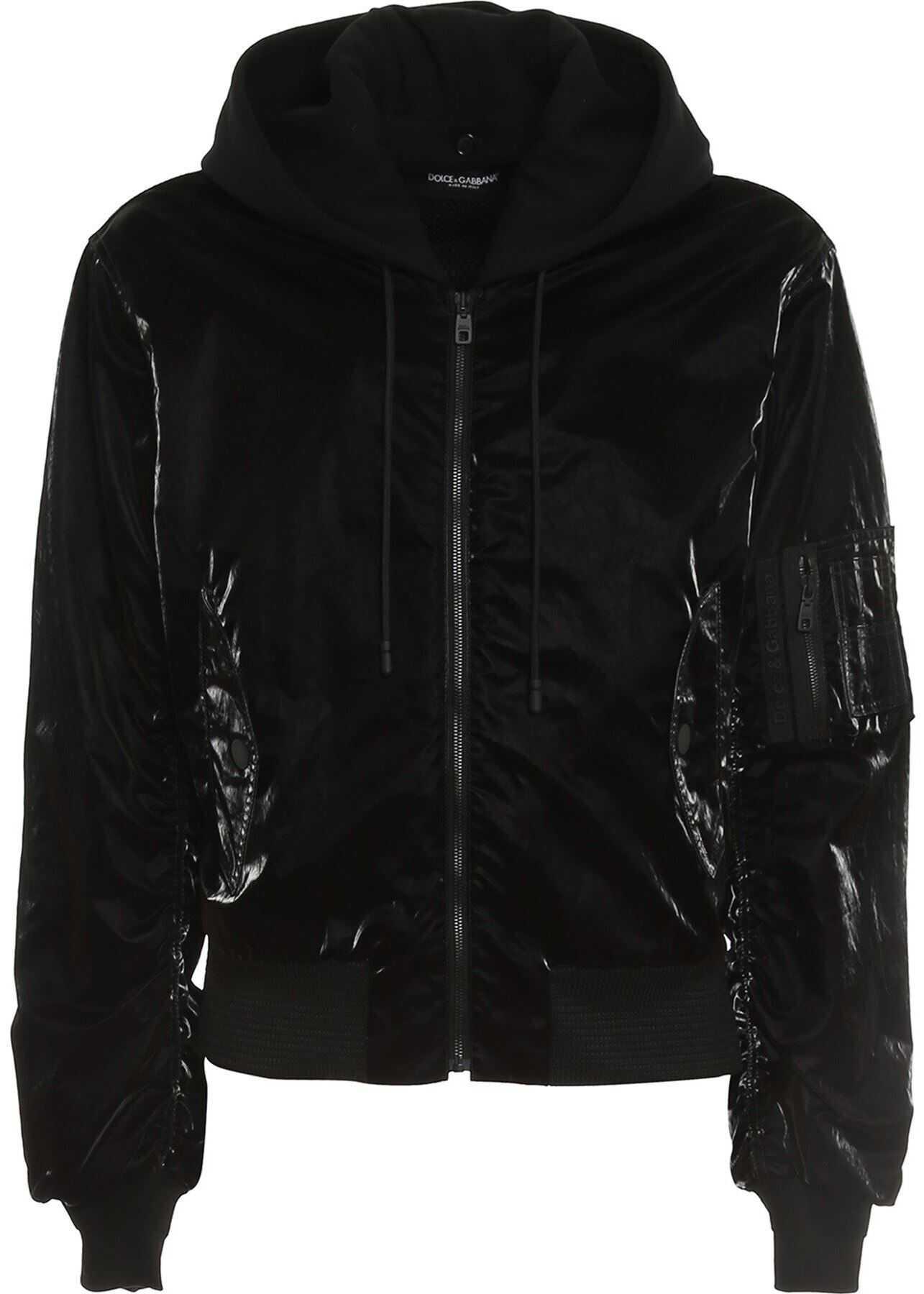 Dolce & Gabbana Reflective-Effect Bomber Jacketin Black Black imagine