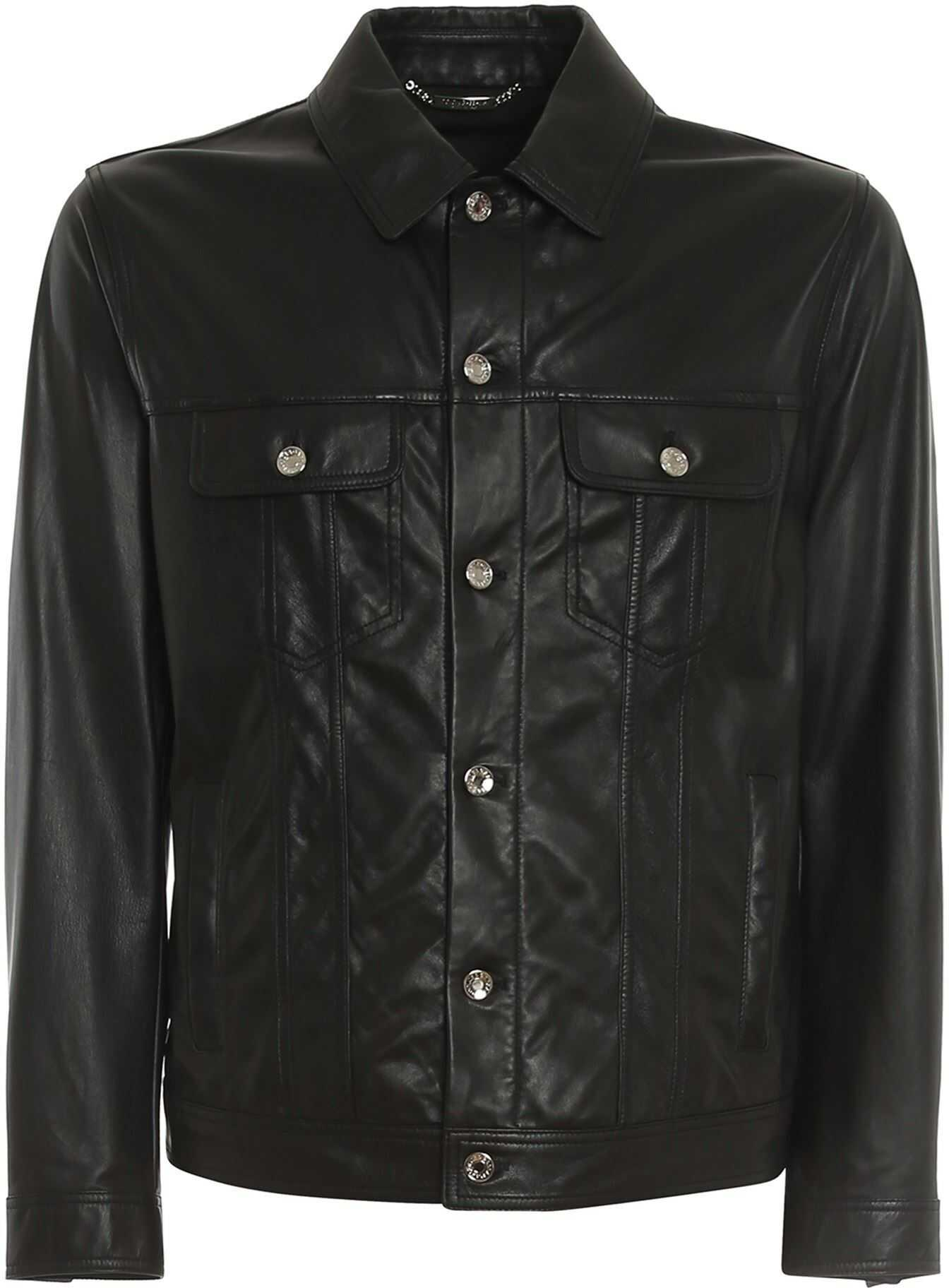 Dolce & Gabbana Leather Jacket With Logoed Silver Buttons In Black Black imagine