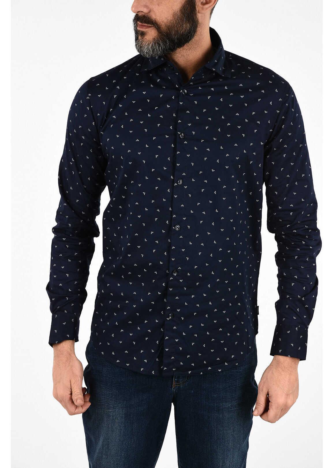 Armani ARMANI JEANS All Over Logo Slim Fit Shirt BLUE imagine