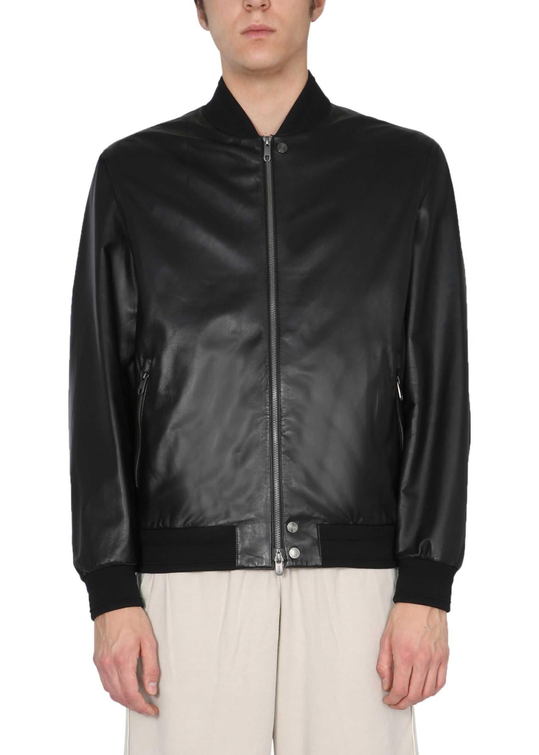 Z Zegna Leather Jacket With Logo BLACK imagine