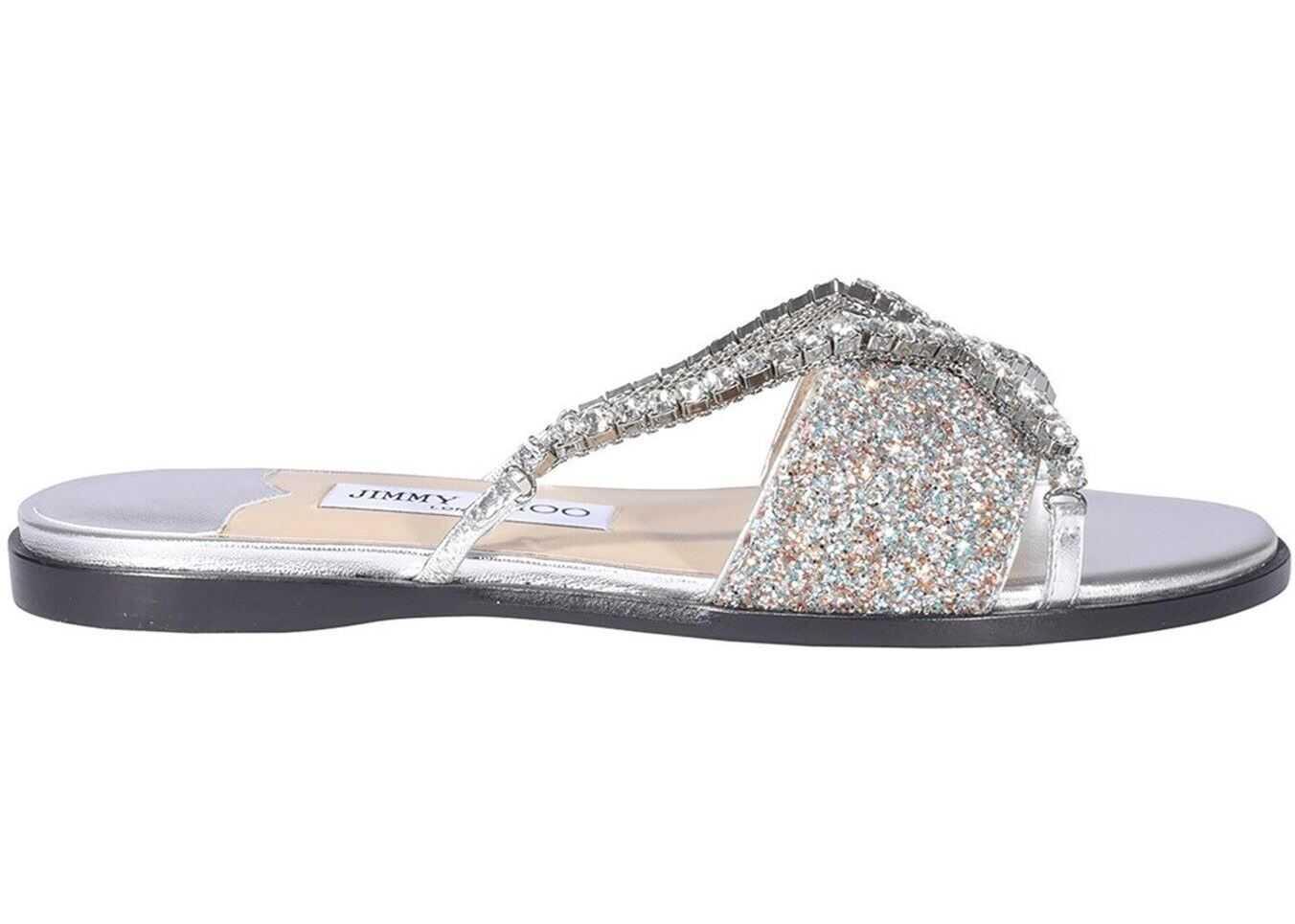 Jimmy Choo Aadi Sandals In Silver Color AADIFLATYOGSILVERMULTICRYSTAL Silver imagine b-mall.ro