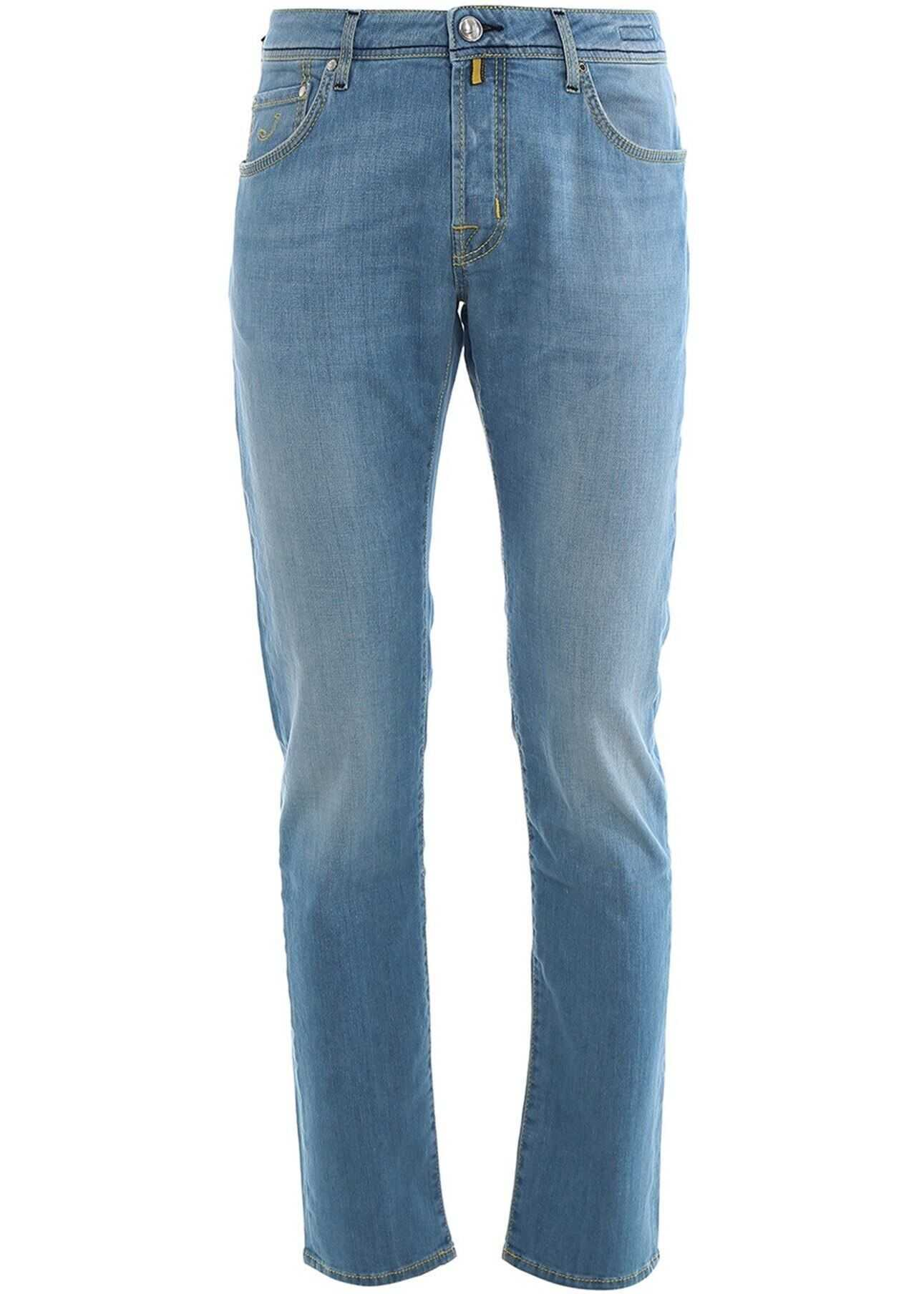 Jacob Cohen Faded Effect Denim Jeans In Light Blue Light Blue imagine