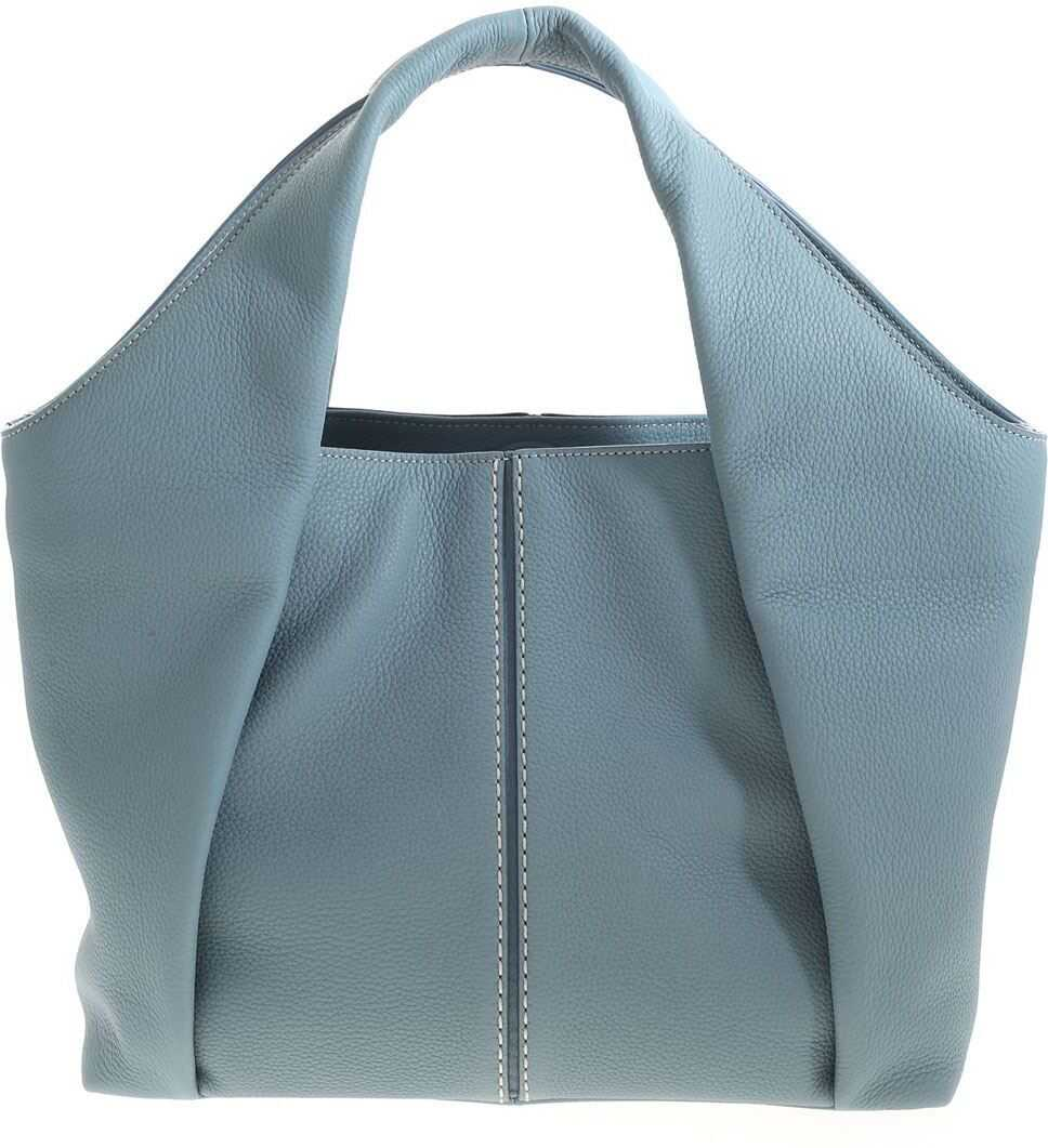 TOD'S Leather Shoulder Bag In Light Blue XBWAOUA0200UCAT002 Light Blue imagine b-mall.ro