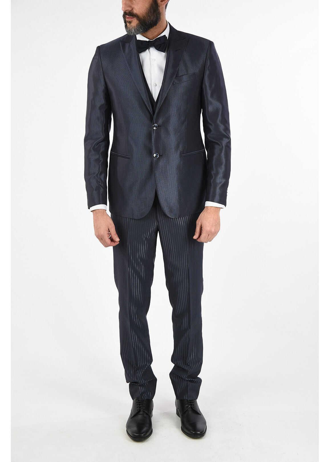 CORNELIANI CC COLLECTION CERIMONIA REFINED drop 8R 3 piece waistcoat su BLUE imagine