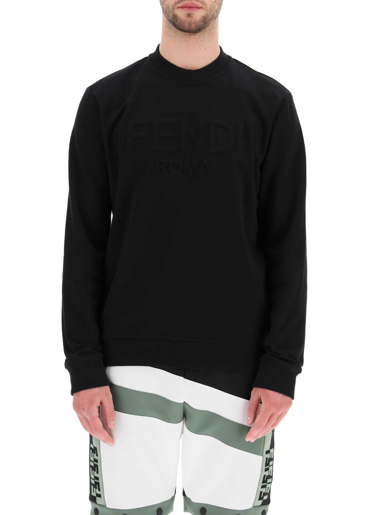 Fendi Crew Neck Sweatshirt With Trompe L'oeil Logo NERO imagine