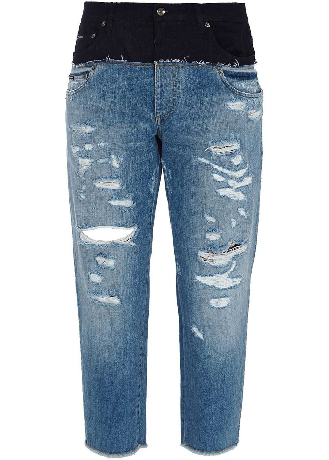 Dolce & Gabbana Ripped Flared Jeans In Blue Blue imagine