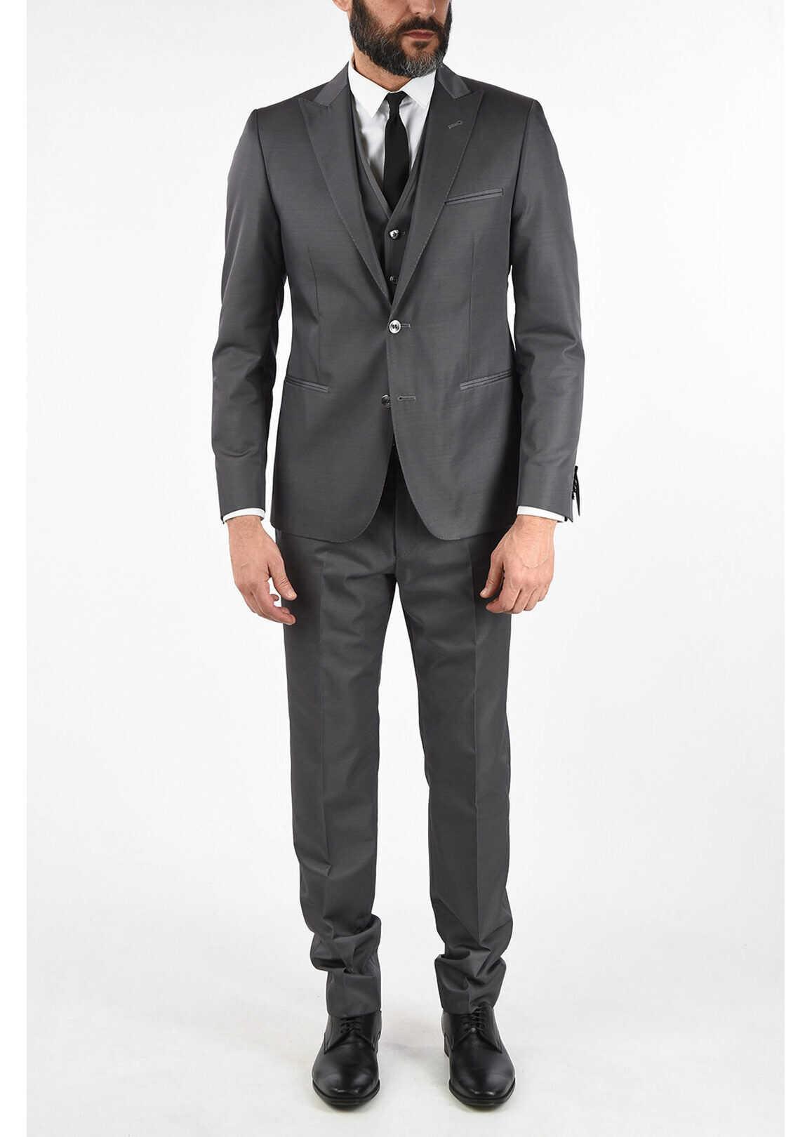 CORNELIANI CC COLLECTION CERIMONIA RESET 3 piece waistcoat suit GRAY imagine