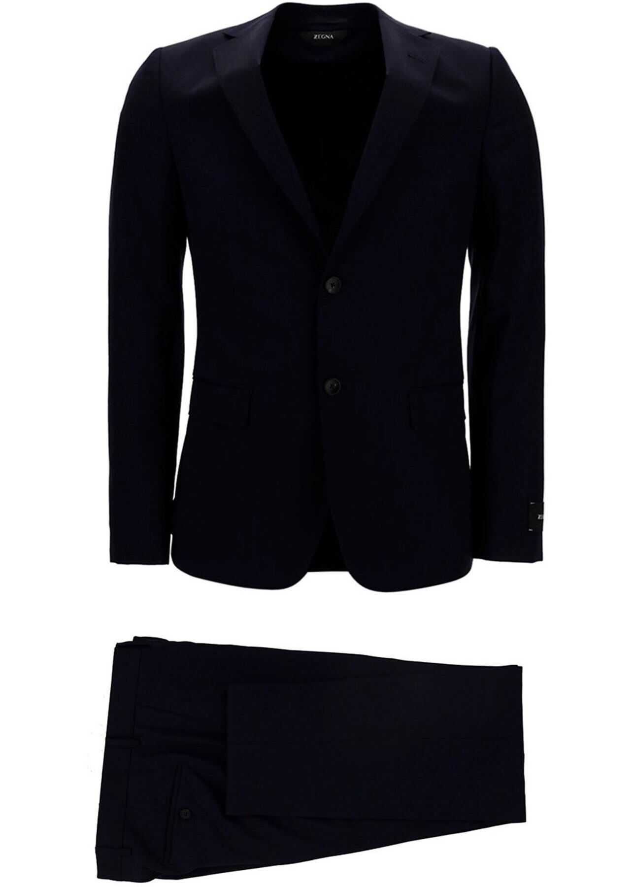 Z Zegna Wool Suit In Black Black imagine
