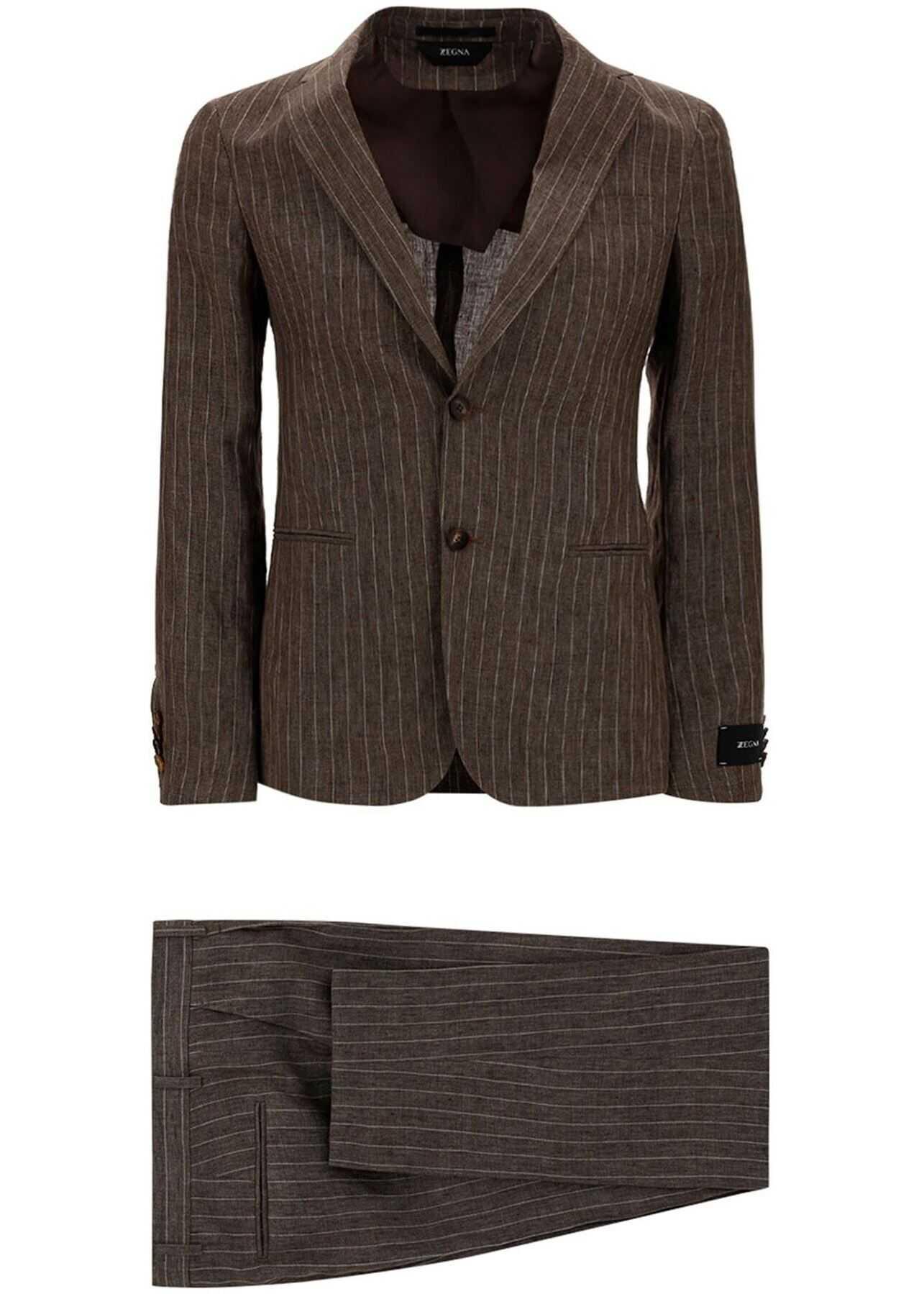 Z Zegna Pinstriped Linen Suit In Brown Brown imagine