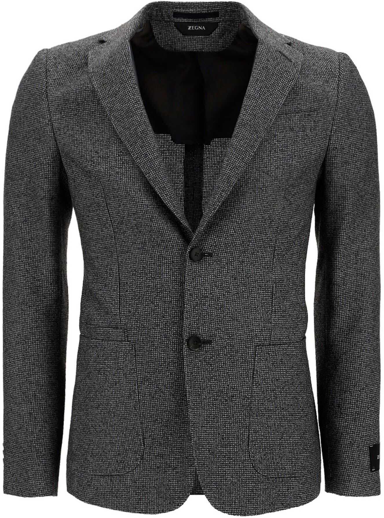 Z Zegna Viscose Blend Blazer In Grey Grey imagine