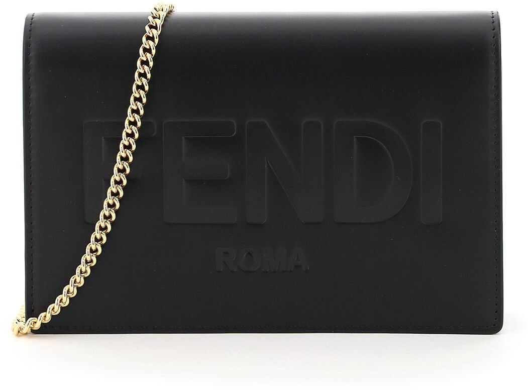 Fendi Roma Mini Bag Chain 8BS006 AAYZ NERO ORO SOFT imagine b-mall.ro