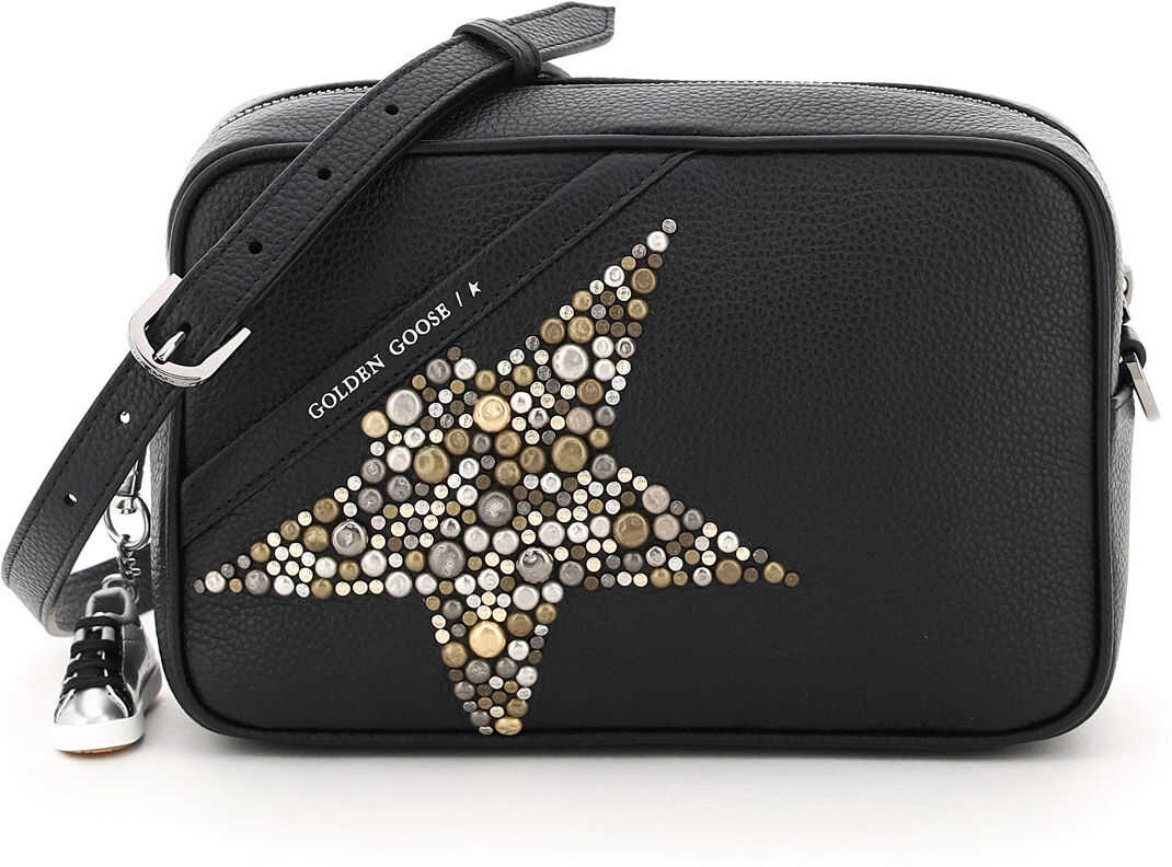 Golden Goose Crossbody Studded Star Bag GWA00101 A000207 BLACK SILVER imagine b-mall.ro