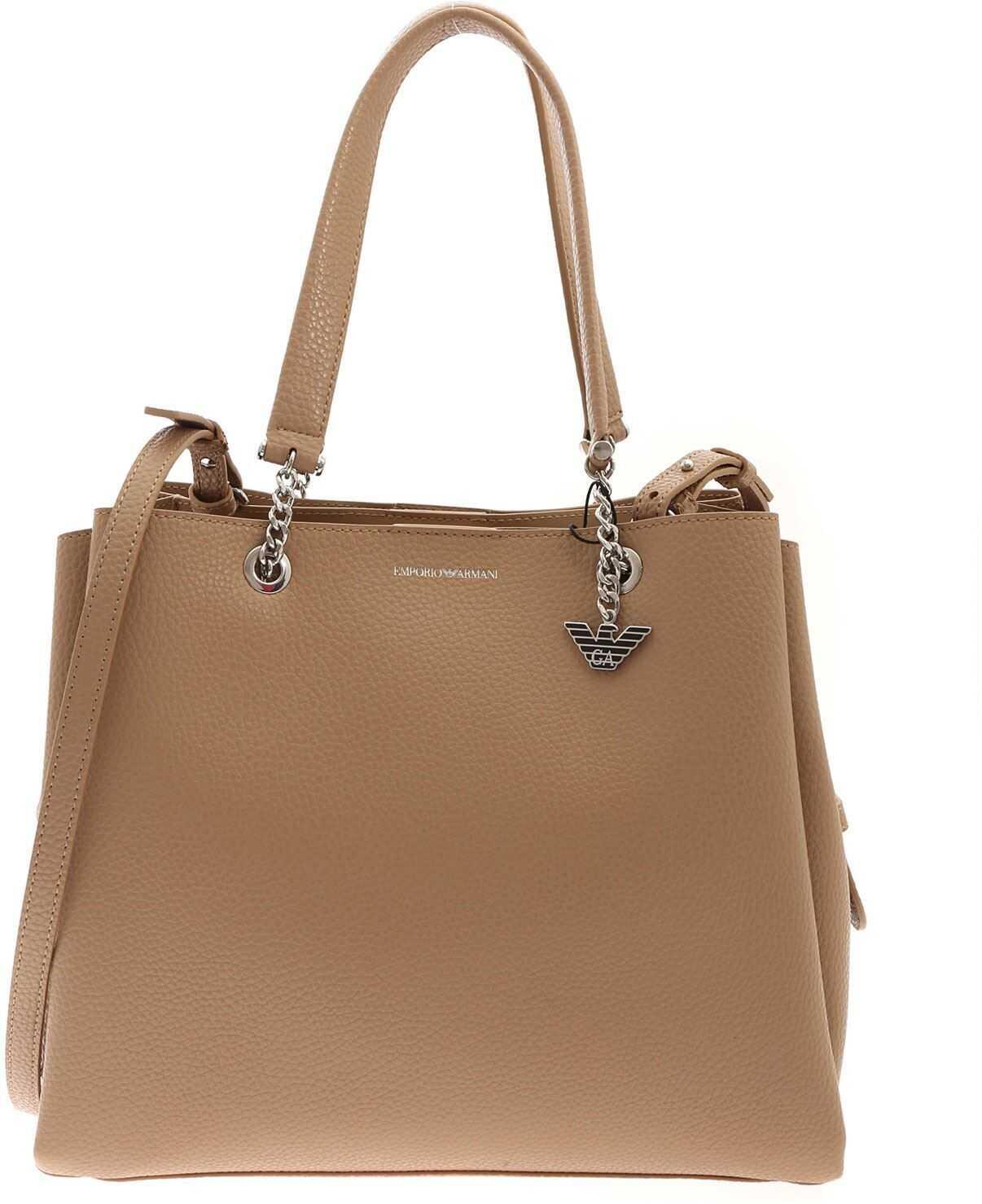 Emporio Armani Logo Charm Bag In Beige Y3D158YFN6E85215 Beige imagine b-mall.ro