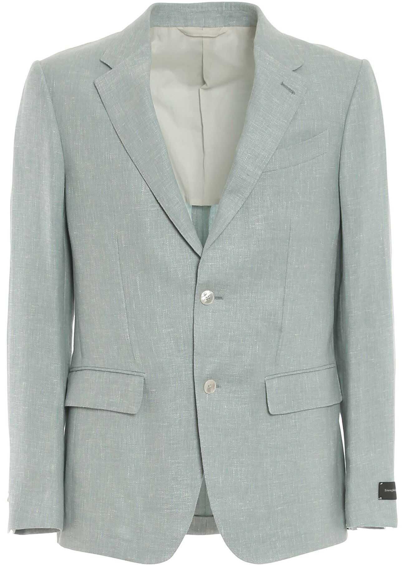 Ermenegildo Zegna Linen, Wool And Silk Blazer In Light Blue Light Blue imagine