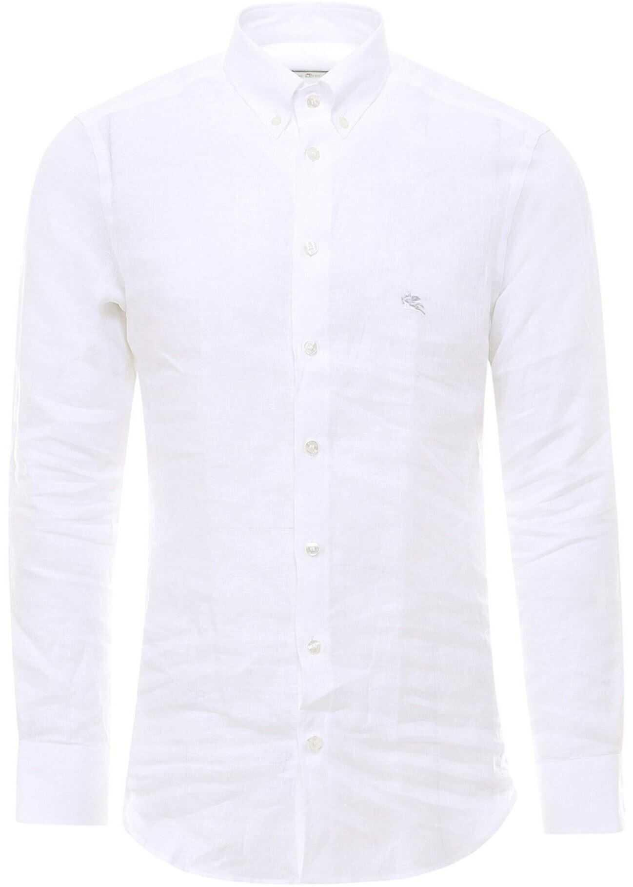 ETRO Linen Shirt In White White imagine