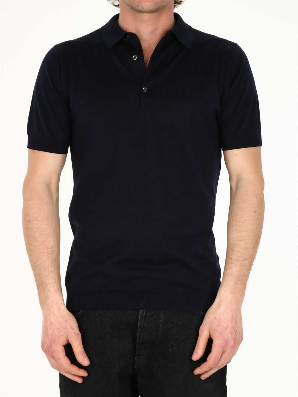 John Smedley Cotton Polo Shirt Blue imagine