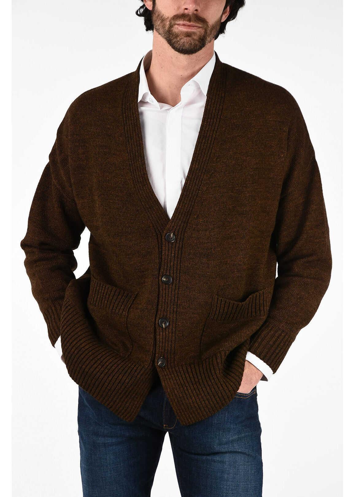 CORNELIANI CC COLLECTION v-neck cable knit Cardigan BROWN imagine