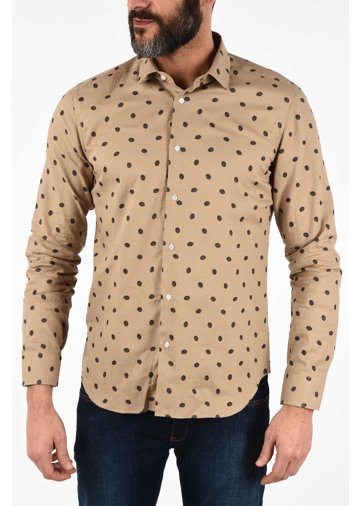 CORNELIANI CC COLLECTION printed SLIM spread collar shirt BEIGE imagine