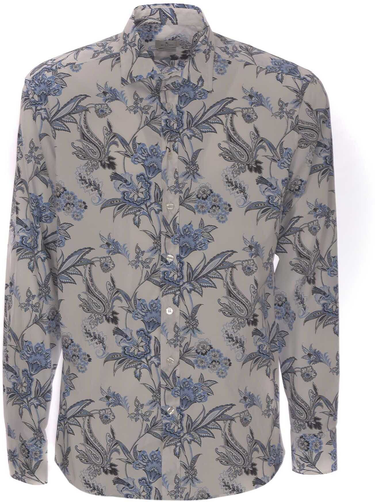 ETRO Floral Shirt In White And Light Blue Light Blue imagine