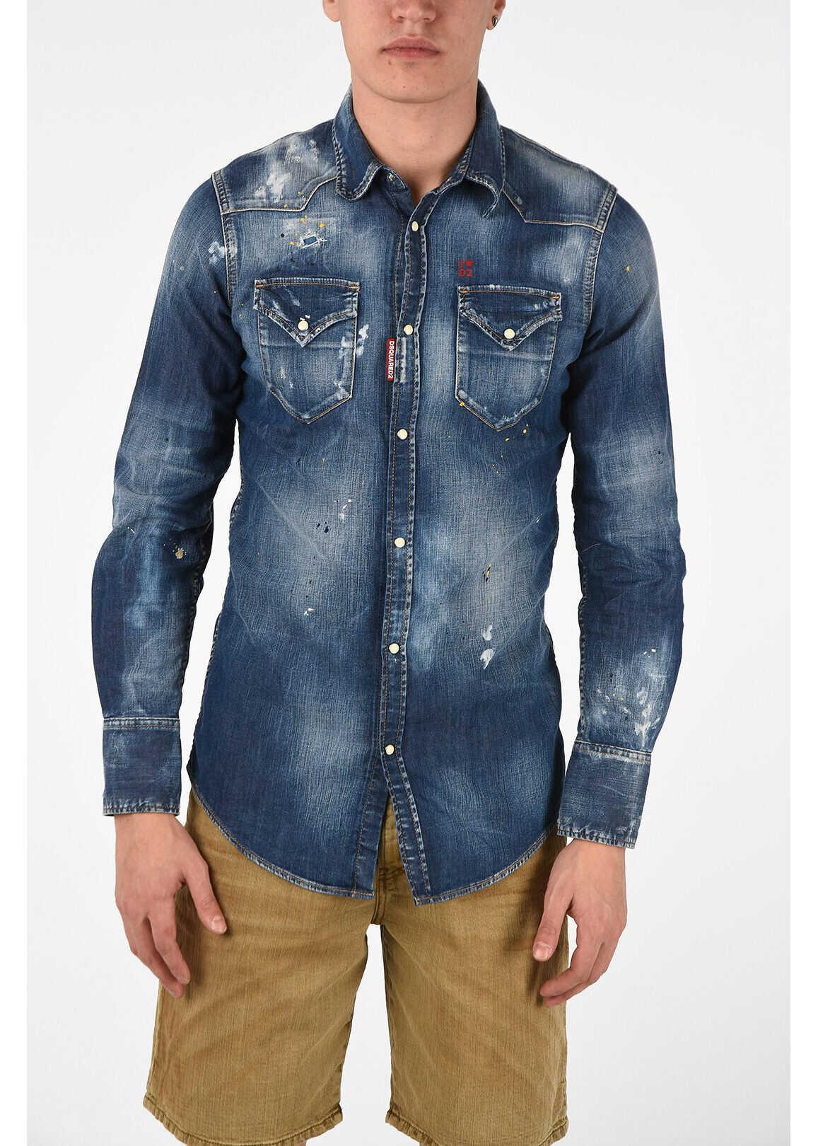 DSQUARED2 Snap Button Vintage Effect Denim Shirt BLUE imagine