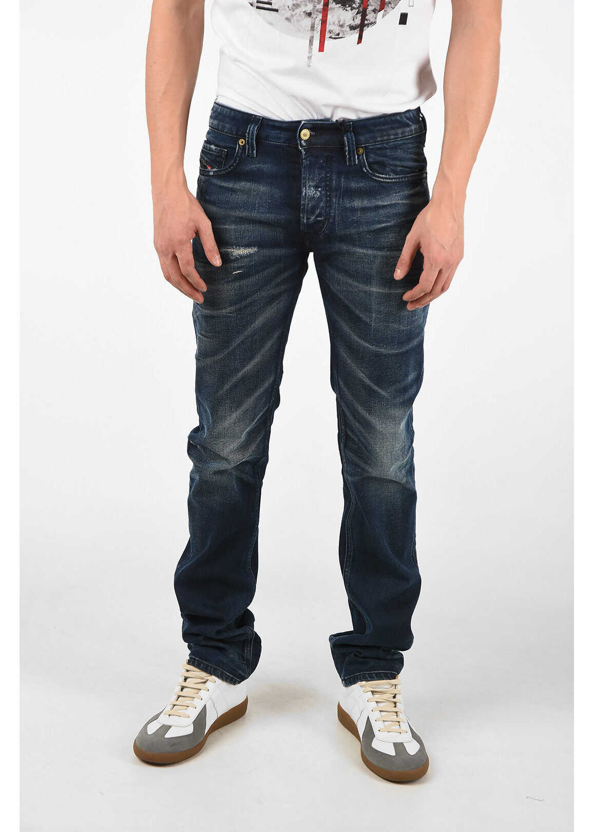 Diesel 19cm Stonewashed SAFADO-X Straight Fit Jeans L32 BLUE imagine