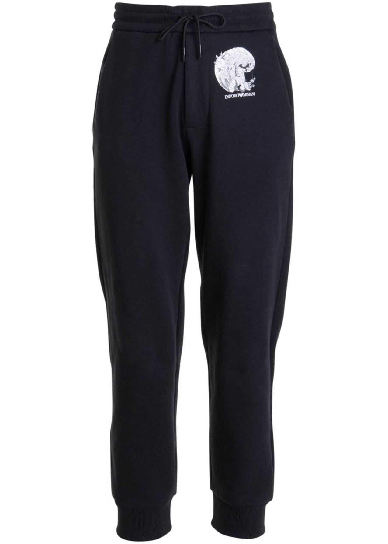 Emporio Armani Cotton Blend Joggers In Black Black imagine
