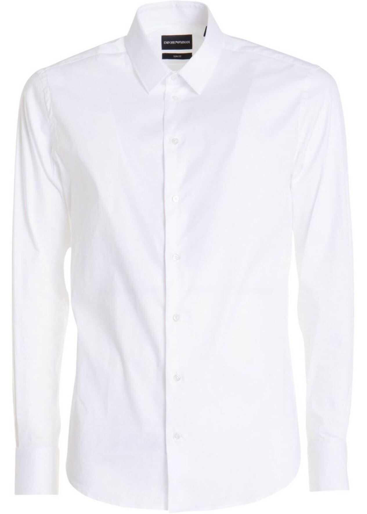 Emporio Armani Cotton Slim Fit Shirt In White White imagine