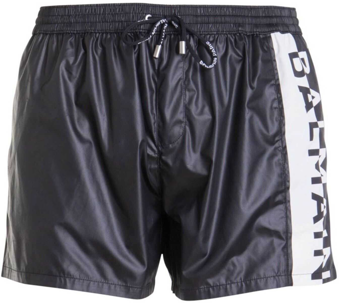 Balmain Logo Stripe Swim Shorts In Black Black imagine