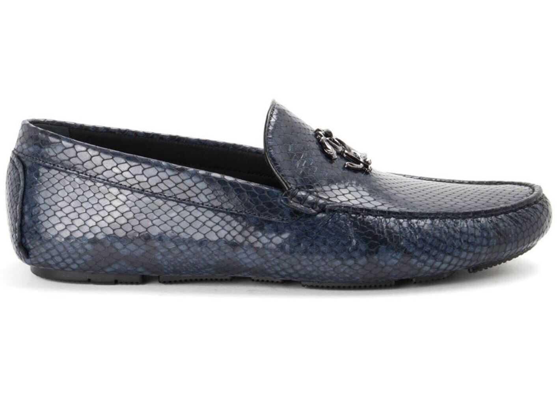 Roberto Cavalli Reptile Print Leather Loafers In Blue 10761D Blue imagine b-mall.ro
