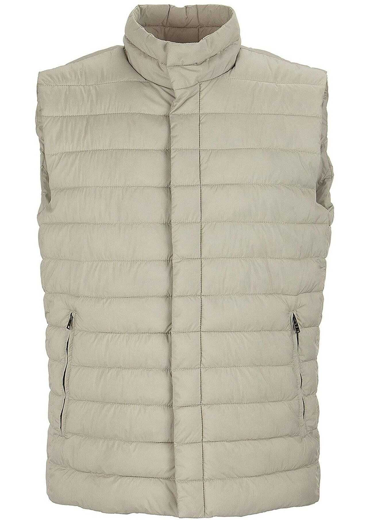 Herno Lo Smanicato Padded Vest In Beige Beige imagine