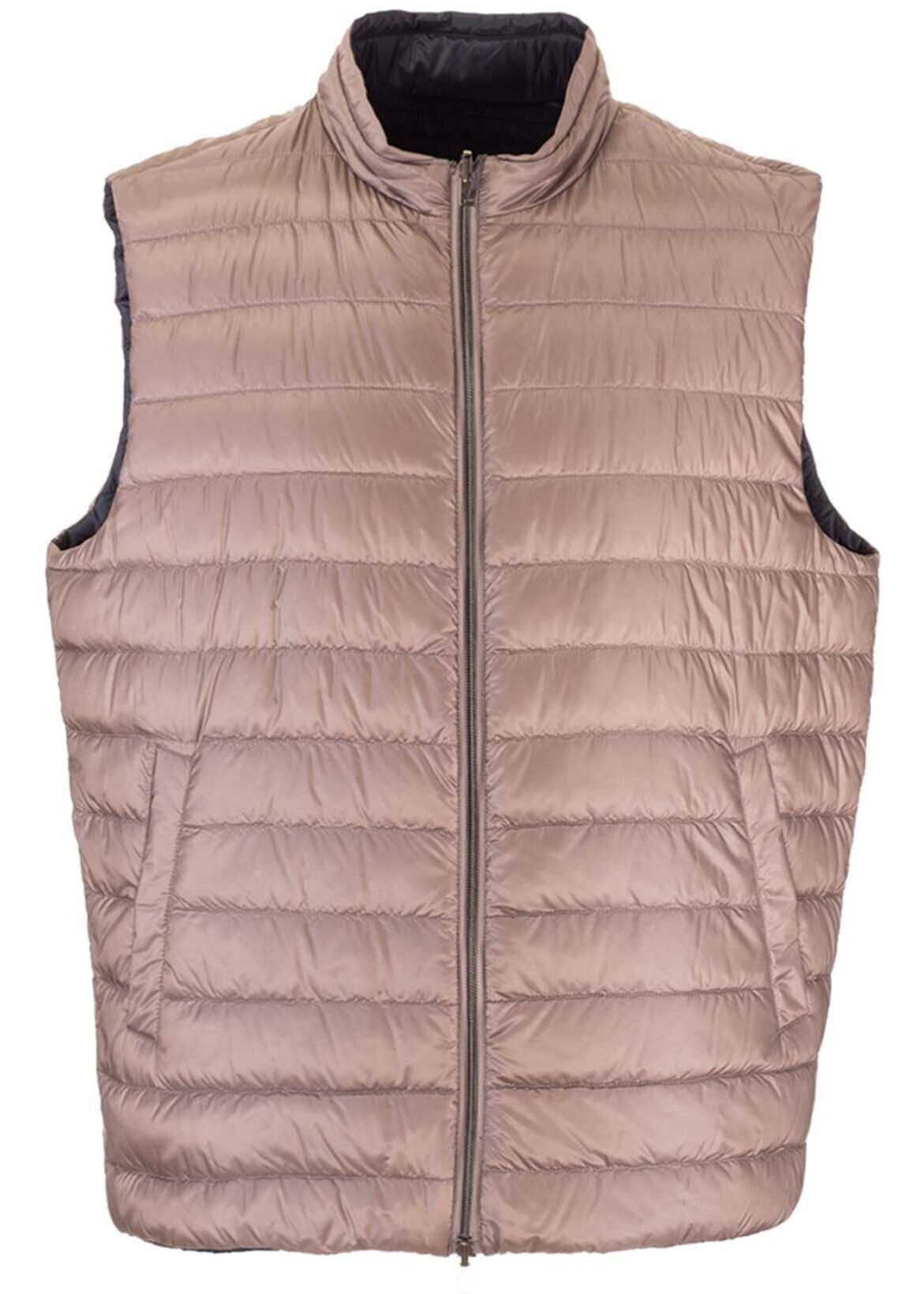 Herno Quilted Down Vest In Dove Grey Color Brown imagine