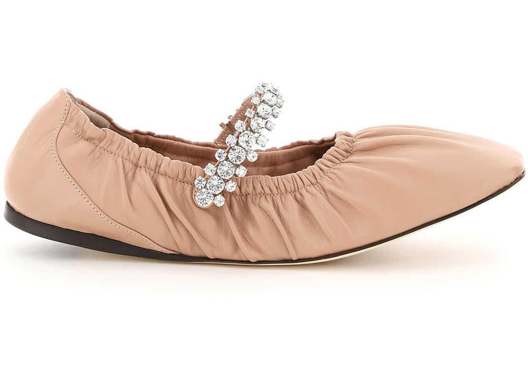 Jimmy Choo Gai Flat Ballerinas Crystal Bracelet GAI FLAT NAP BALLET PINK imagine b-mall.ro