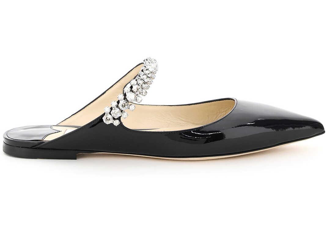 Jimmy Choo Bing Flat Mules Crystal Bracelet BING FLAT PAT BLACK imagine b-mall.ro