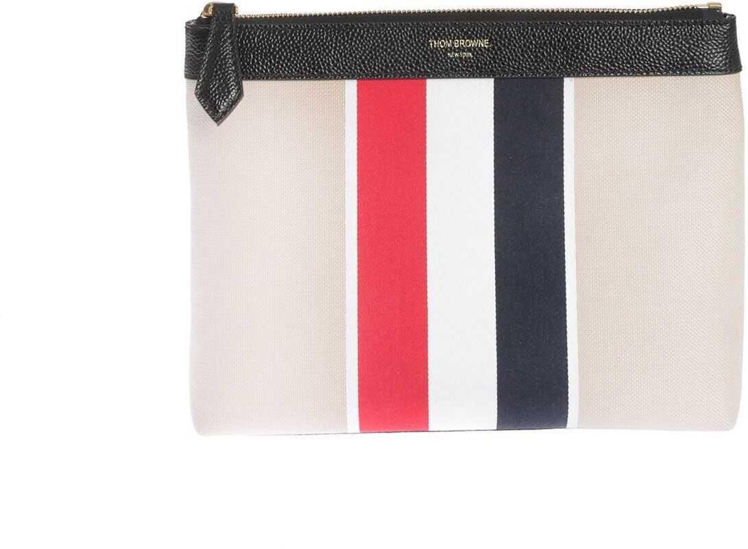 Thom Browne 3-Band Beauty Case In Cream Color FAL008A-06558 255 Cream imagine b-mall.ro