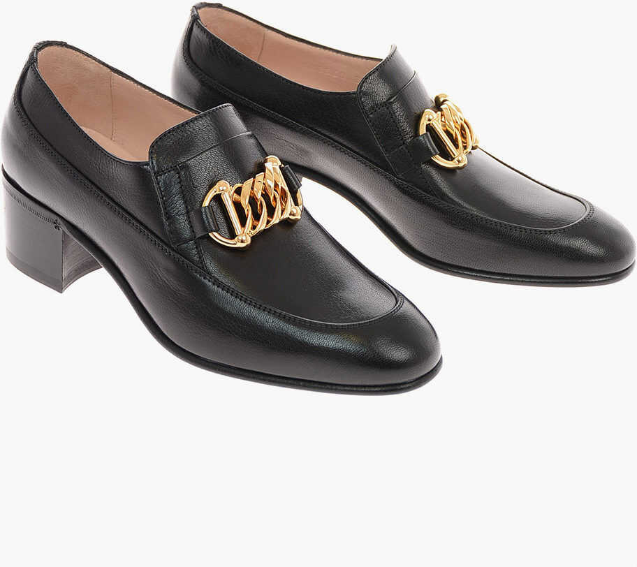 Gucci Leather ICE LOLLY Bit Loafers 5 Cm BLACK imagine b-mall.ro