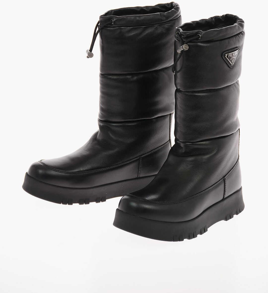 Prada Leather Padded Boots with Drawstring BLACK imagine b-mall.ro