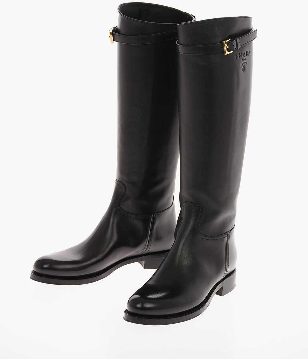 Prada Leather Knee High Boots 5 Cm BLACK imagine b-mall.ro