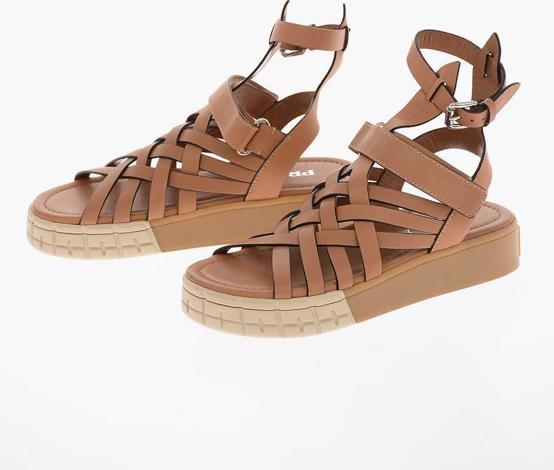 Prada Braided Leather Sandals with Platform 3 Cm BROWN imagine b-mall.ro