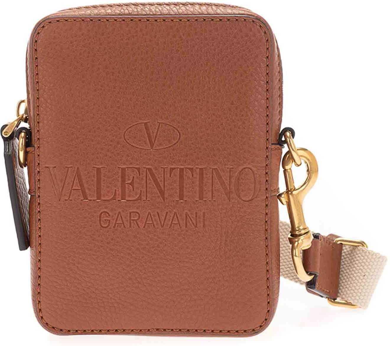 Valentino Garavani Logo Cross Body Bag In Brown VY0B0943QPTHG5 Brown imagine b-mall.ro