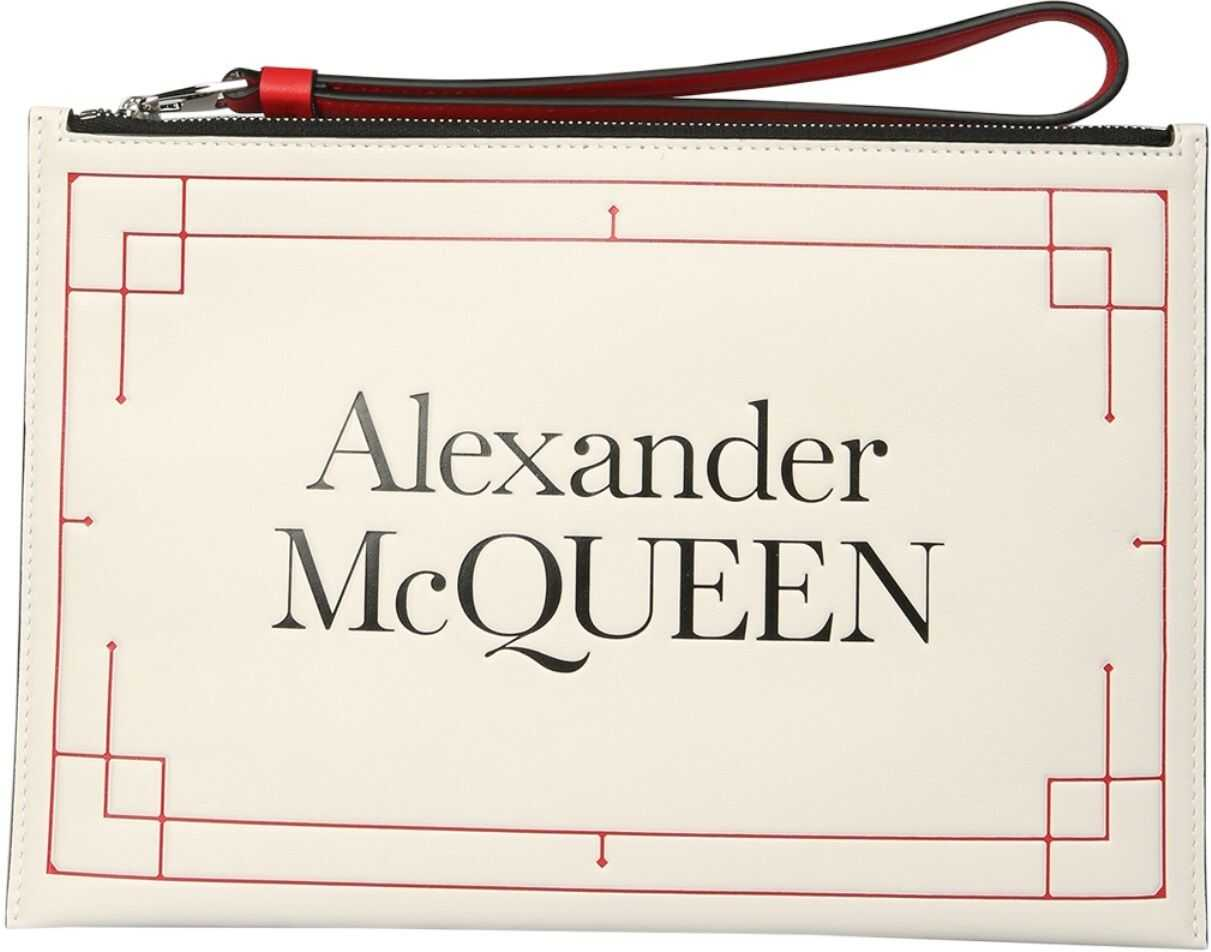 Alexander McQueen Clutch With Logo 650005_1X3A39090 WHITE imagine b-mall.ro