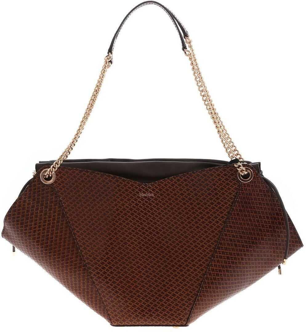 Max Mara Flowerm Shoulder Bag In Brown 45111711600001 Brown imagine b-mall.ro