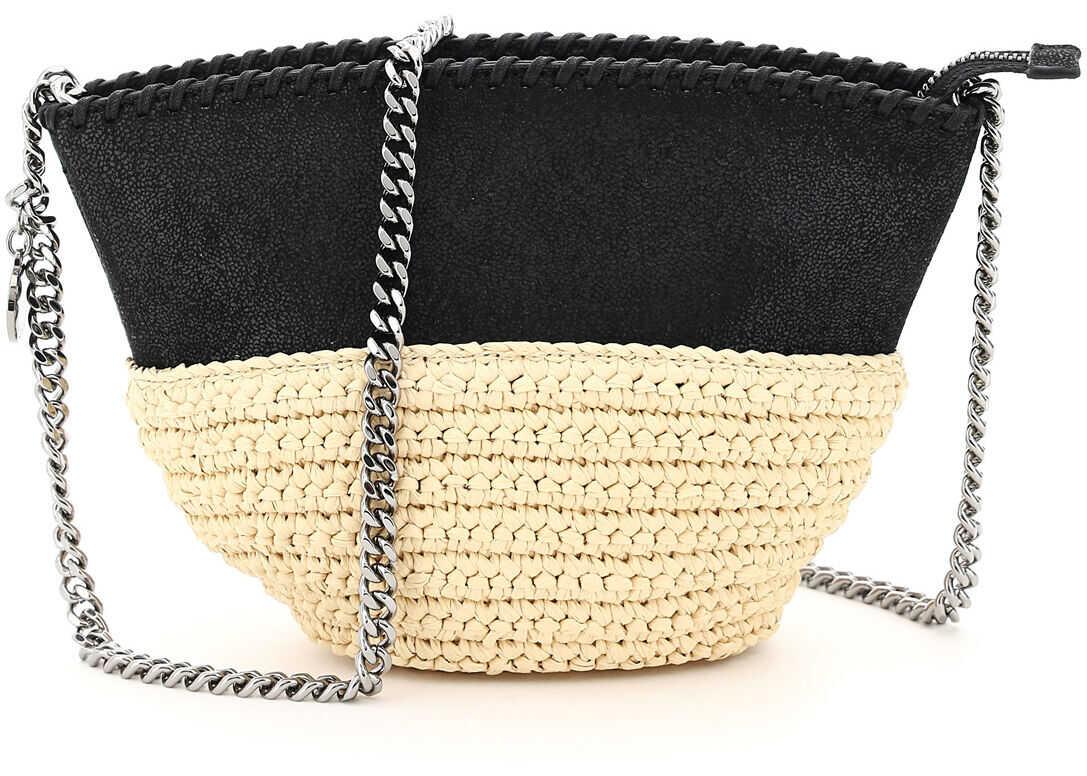 Stella McCartney Faux Leather And Raffia Mini Bag With Chain 700226 W8805 BLACK imagine b-mall.ro