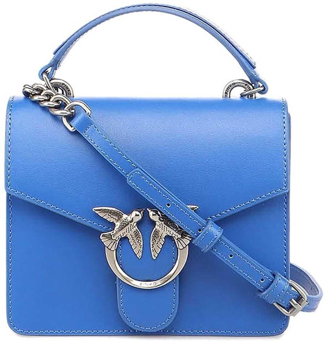 Pinko Love Mini Top Handle Simply 1 Bag In Blu Abbagliante Color 1P228AY6XUG54 Blue imagine b-mall.ro