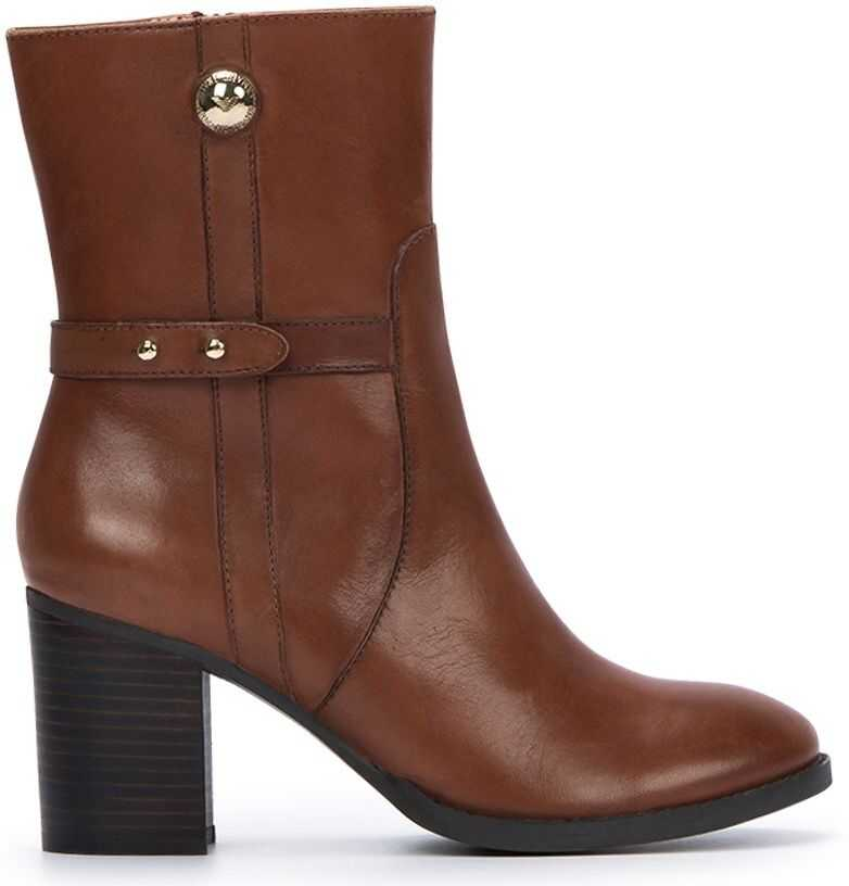 Armani Exchange Leather Ankle Boots Brown