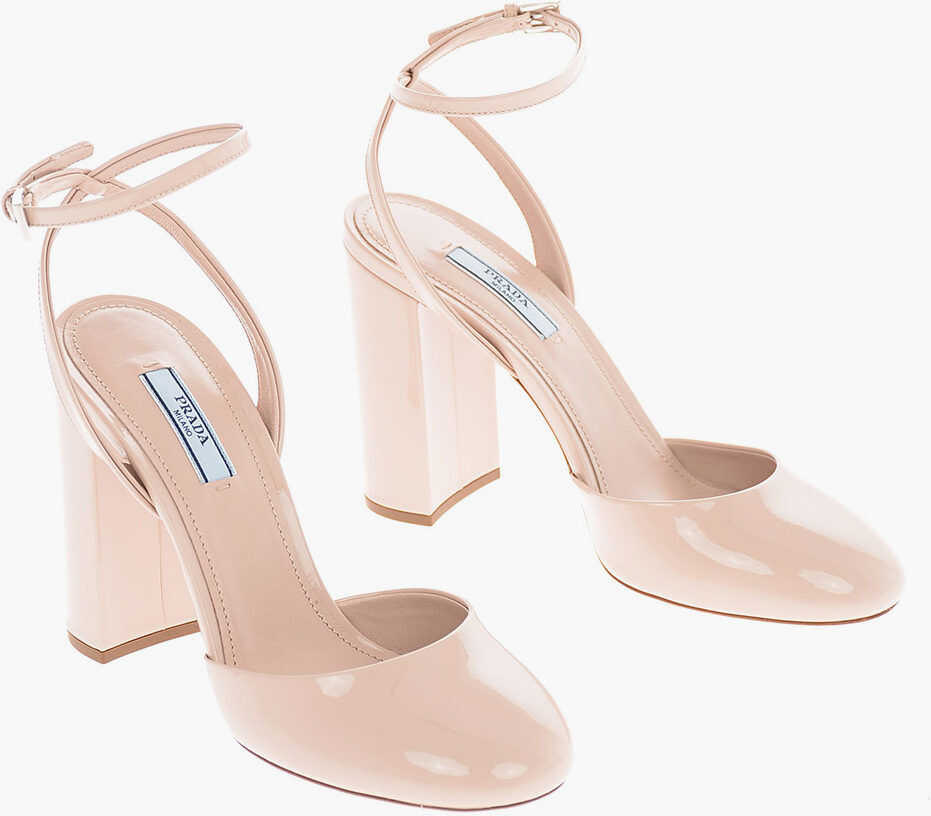 Prada Patent Leather Pumps with Ankle Strap 11 Cm PINK imagine b-mall.ro