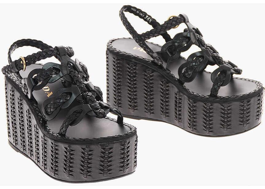Prada Braided Leather Platform Sandals BLACK imagine b-mall.ro