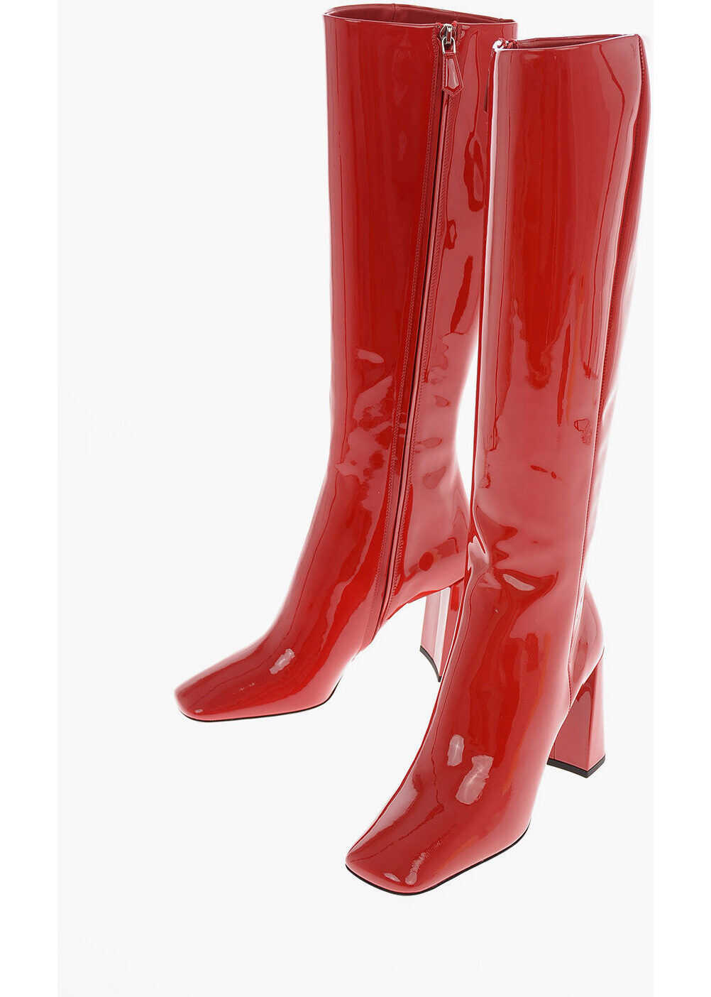 Prada Lacquered Leather Knee Length Boots 9 cm RED imagine b-mall.ro