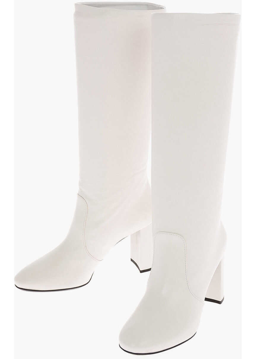 Prada Leather Pull On Boots with Squared Heel 8 cm WHITE imagine b-mall.ro