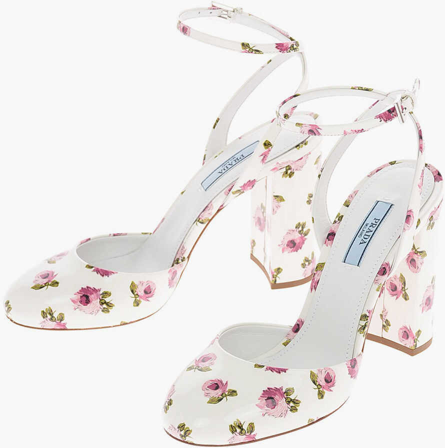 Prada Floral Patent Leather Pumps with Ankle Strap 11 Cm WHITE imagine b-mall.ro